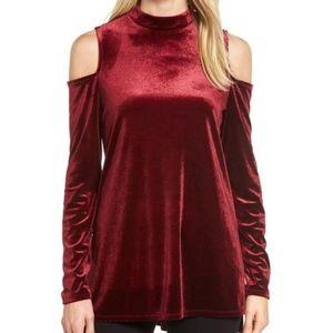 Halogen red velvet cold shoulder holiday tunic top